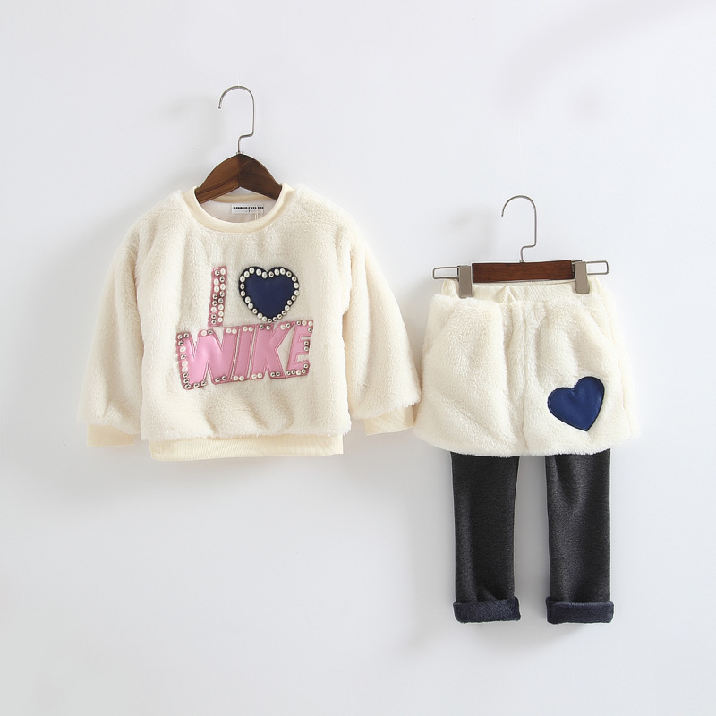 Childrens clothing sets a baby clothing sets thickening warm clothes of wool rabbit hair toddler girl + velvet trousers<br><br>Aliexpress