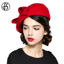 FS Elegant Winter 100% Australian Wool Felt Fedora Red White Black Wedding Hats Women Female Bow Berets Caps Pillbox Hat Chapeau(China)