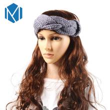 M MISM Retro Knitted Braid Shape Turban Headband  Women Woolen Hairband Solid Color Crochet Head Wrap Girls Autumn Headwear
