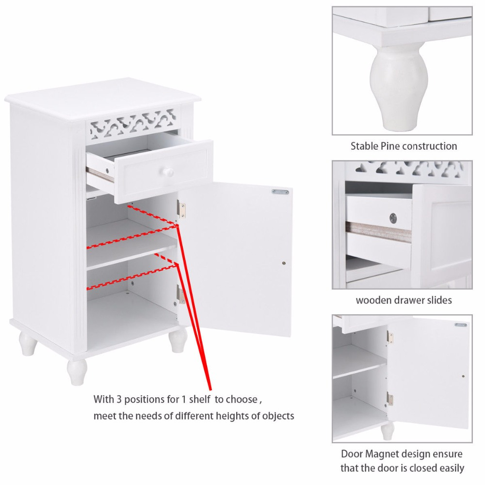 Giantex Storage Floor Cabinet Bathroom Organizer Floor Cabinet Drawer Kitchen White Modern Bathroom Furniture HW57018 10