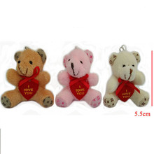 5.5cm 30pcs Small Teddy Bear Plush Toys Pendants I love you Heart Shaped Bear Dolls DIY Wedding Party Flower Bouquet Decor(China)