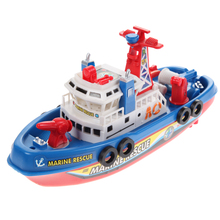 High Speed Fire Boat Electric Boat Children Electric Toy Navigation Non-remote Warship Baby Kids Entertainment Toy Gift(China)