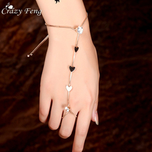 Buy Crazy Feng Unique Design Gold Color Heart Hand Finger Bracelets & Bangles Women 2017 Summer Fashion Charms Crystal Jewelry for $1.79 in AliExpress store
