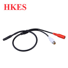 HKES 2pcs/lot Audio pick up CCTV Microphone Wide Range Camera Mic Audio Mini Microphone for CCTV Security DVR