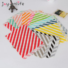 JOY-ENLIFE 25pcs 13x18cm Chevron Stripes Food Paper Bags Popcorn Bags For Baby Shower Wedding Decor Birthday Party Supplies