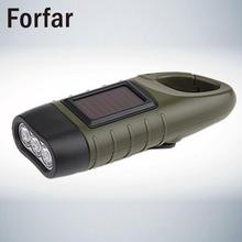 Forfar Professional Design Portable LED Hand Crank Dynamo Solar Power Flashlight Torch for Outdoor Camping Mountaineering Useful