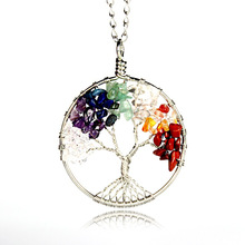 2017 Hot Tree Necklace Multicolored Stone with Tree Root Pendant Necklace Decorated with Colorfull Necklace 12pc/lot