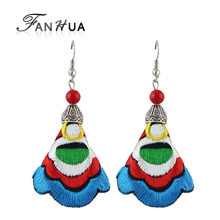 FANHUA Chinese Ethnic Jewelry Boho Earring Handmade Colorful Embroidery Long Flower Drop Earrings for Women Indian Jewelry(China)