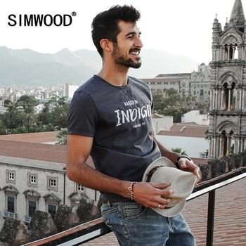 SIMWOOD 2017 Nouveau Printemps T chemises Hommes Manches courtes O cou lettre Mode Vintage T-shirts TD1126