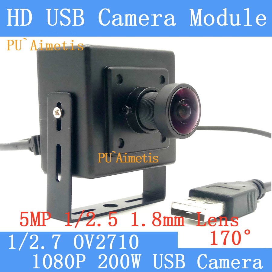 PU`Aimetis 1080P 2MP Full Hd MJPEG 30fps High Speed OV2710 170 degree Mini Surveillance camera Linux UVC USB Camera module <br>
