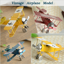 3pc Vintage Metal Plane Model Iron Retro Aircraft Glider Biplane Aeromodelo Pendant Airplane Model Toy Home Christmas Decoration(China)