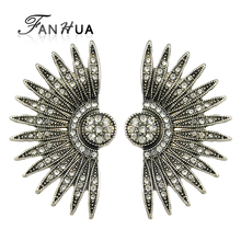 FANHUA  Wing Jewelry Vintage Antique Silver Color White Rhinestone Spike Stud Earrings Brincos For Women