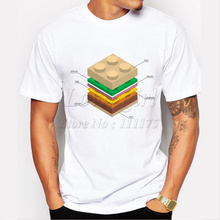 Newest Hipster men's fashion lego burger printed t-shirt  funny short sleeve tee shirts Novelty O-neck popular  tops
