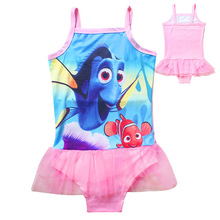 Cute Nimo Infants character dress baby Girls one piece Swim Bow wear Kids Bathing Children pink dress summer dress(China)