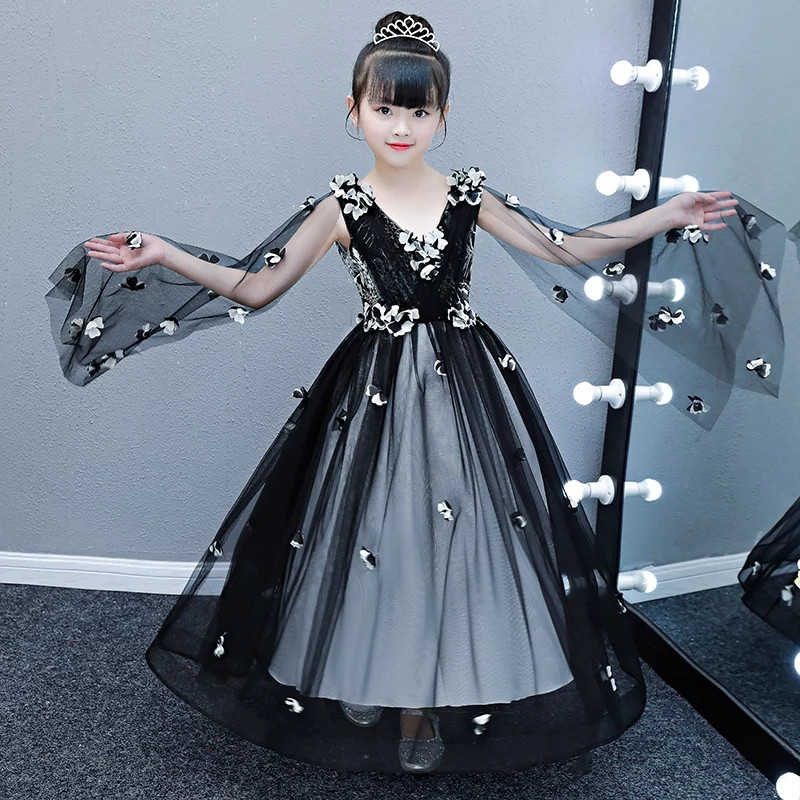 2018New Children Girls Piano Pageant Prom Flowers Long Dress Kids Toddler Luxury Evening Party Model Show Catwalk V-Collar Dress
