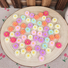 100 Piece Mixed Color Flatback Flat Back Resin Flower Cabochon Kawaii DIY Resin Craft Decoration Scrapbooking Embellishment 12mm