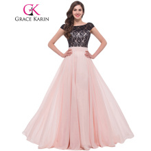 Grace Karin Lace Evening Dresses 2017 Mother Backless Chiffon Elegant Long Formal Gowns Pink Special Occasion Dress With Sleeves(China)