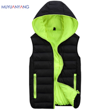 Autum Winter Hooded Vest Men Outerwear & Coats Lovers Couple Waistcoats Big Plus Size 3XL 4XL