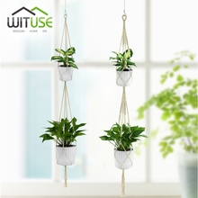 WITUSE 2 Tiers Retro Macrame Plants Hanger 1.6m Hook Flower Pot Holder String Hanging Rope Wall Art Home Garden Balcony Decor 2x(China)