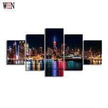 Night Modern City Canvas Painting HD Landscape Group Home Decor Wall Picture For Living Room Modular Pictures Cuadros Decoracion