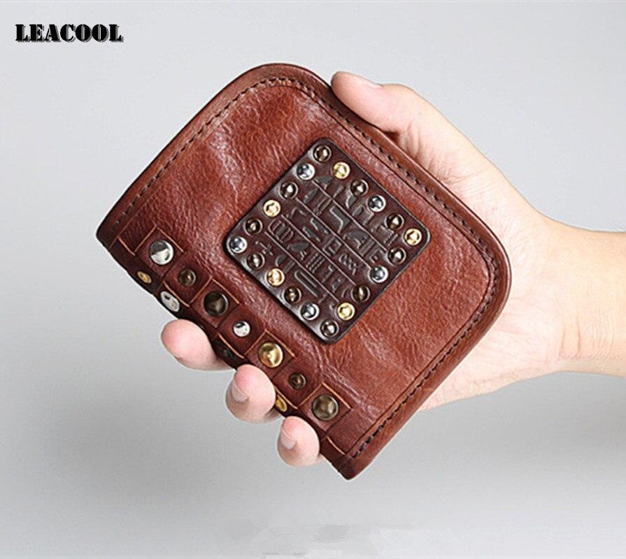 LEACOOL 2017 Brand Men Bifold Shhort Wallets Vintage 100% Genuine Leather Wallet Coin Pocket Carteira Masculina for Women<br>