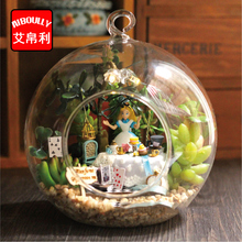 Alice Afternoon tea DIY Wooden Miniature Dollhouse 3D Kit & Glass Dust Cover Hut and Voice control light doll house(China)