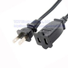 USA Canada 2 Prong Male to Female Power Extension Cord,Nema 1-15P/1-15R Power Cable ,2pcs,Free ship(China)