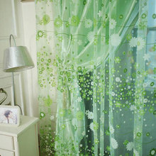 For romantic rustic curtain yarn customize finished products balcony green pink tulle fabrics floral design sheer panel