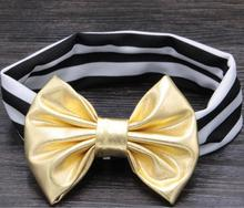 15pcs/lot Colorful 4'' Metallic Messy Bow With Black/White Stripe Headband, Children Headwear, Kids Fashion Hair Accessories(China)