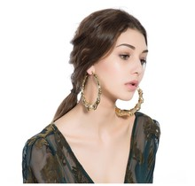 Big hip hop bamboo hoop earrings punk gold plate hot sale circle earrings for women 100mm ER006(China)