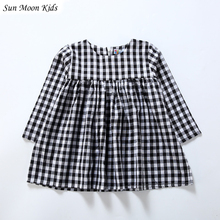 Sun Moon Kids Dress Girl Child Lattice Casual Children's Dresses Long Sleeves Princess Dress High Waist Baby Girl Clothing