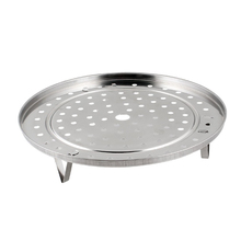 Practical Round Stainless Steel Steaming Rack w Stand 25.5cm Diameter