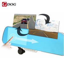 "5.0"" Touch Android 4.4 ROM  Dual lens FHD1080P camera WiFi GPS parking car dvrs Rearview mirror video recorder Car DVR"