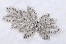 Leaf Mosaics Crystal Bridal Applique,Rhinestone Applique, Discount Fashion Wedding Belt Applique,Crystal Rhinestones(China)
