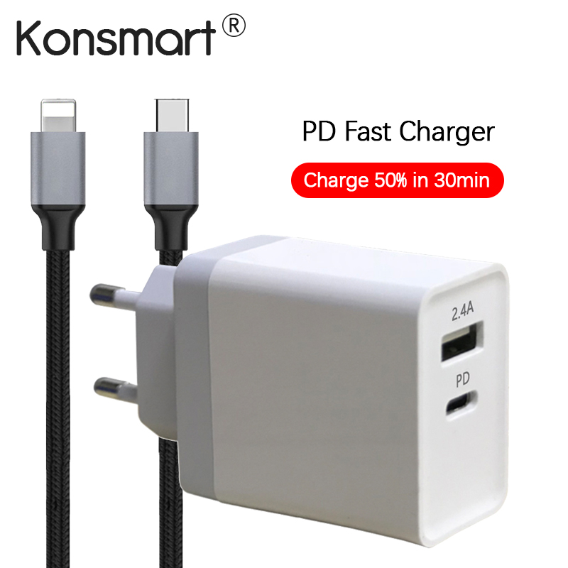 KONSMART PD 3.0 USB Type-C Fast Travel Charger iPhone 8 Plus 10 X iPad Samsung Xiaomi LG HTC Mobile Phone Euro Power Adapter