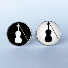 Violin Cufflinks,custom Black and White Silhouette, orchestra violin cufflinks, fiddle cufflinks