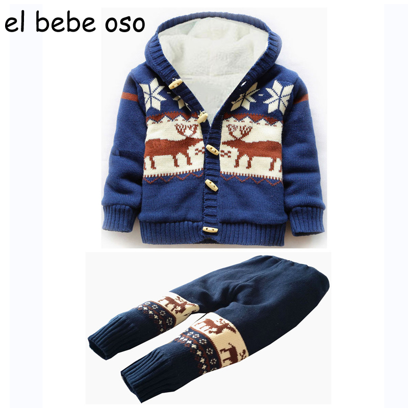 el bebe oso Baby Infant Clothes Set Hooded Coat +Trousers Body 2pcs Boy Girl Fleece Thick Warm Christmas Deer Sweaters Suit XL39<br>