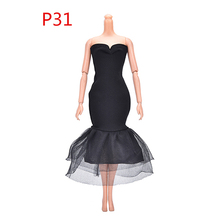 1 pcs Girl Doll Elegant Handmade Dresses Lady Black Little Dress Evening Dress Clothes for Barbie Dolls Gift Doll Accessories