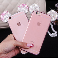 For iPhone 5s SE 5 6 6S 6sPlus 7 7Plus Phone Cases Bag Cover Hot Luxury Diamond Glitter 3D Mickey Minnie Mouse Ears Capa Fundas(China)