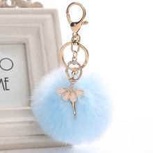 H:HYDE Hot Fashion Women Rabbit Fur Cony Hair Ballet Dancer Nice Ball Pom Pom Charm Car Keychain Handbag Key Ring Pendant(China)