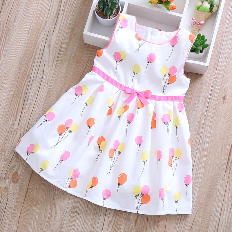 2019 Summer Fashion Colored Balloon Bow Knot Girl Dress Princess Dress