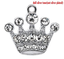DoreenBeads 10 Silver Tone Rhinestone Crown Charm Pendants 21x20mm (B10355), yiwu(China)