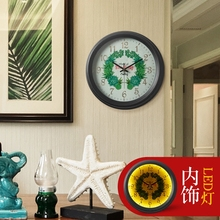 It is American Pastoral fashion creative living room wall clock silent watch luminous quartz clock European round(China)