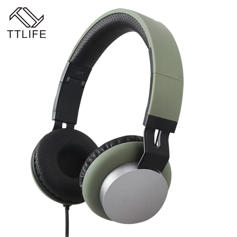 Fashion TTLIFE Brand Noise Isolation Headset Wired Headphone Over ear Foldable Bass Headphone with Mic for Mobile Phone Computer<br><br>Aliexpress