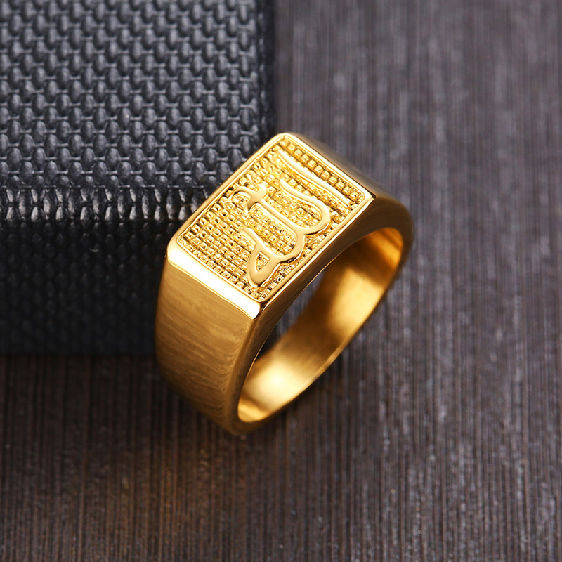 Mens 316L Stainless Steel Gold Tone Dragon Patterned Square CZ Band Ring Wide
