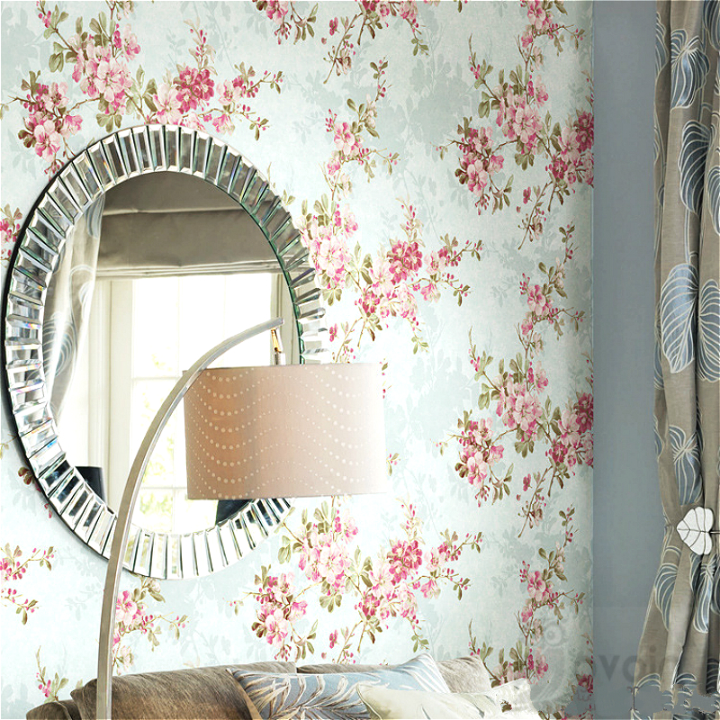 Plum Blossom Non Woven Vintage Garden Green Yellow Flowers Floral Design Decorative Wallpaper For Wall For Hotel Bedroom<br>