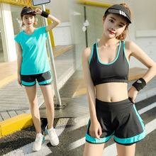 4 Colors High Quality Fitness 3 Pieces Women Yoga Set Bra & Hot Shorts & Hollow Smock Gym Clothes Sport Wear Outdoor Jogging(China)