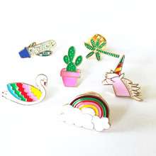 X141 Cartoon Cute Hand Unicorn Cactus Fish Shell Swan Metal Brooch Pins Button Pins Jeans Bag Decoration Brooches Gift Wholesale