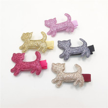 20pcs/lot Colorful Little Kitty Girls Hair Pin Sweet Cute Red Pink Gold Cats Hair Clip New Glitter Kids Fine Fabric Hair Grip(China)