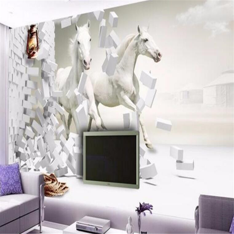 Custom 3d photo wallpaper European TV living room bedroom creative perspective diagram Whitehorse mural wallpaper wall mural<br><br>Aliexpress